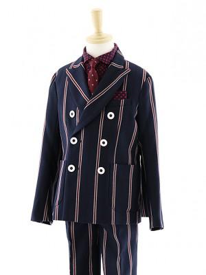 [男児スーツ]長ズボン 紺ストライプ ダブルスーツ 0062 120㎝