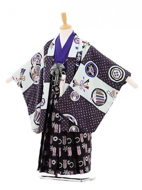 七五三(5歳男袴)5229 式部浪漫 水色×紫丸紋
