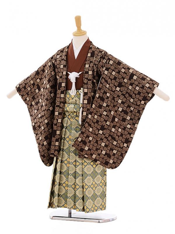 七五三レンタル(5歳男の子袴)5265茶色変わり格子
