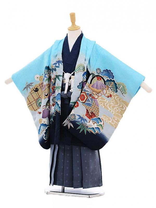 七五三レンタル(5歳男の子袴)5240水色のしめ鷹