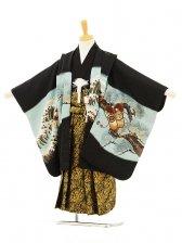 753レンタル(5歳男袴)5127 黒×水色 兜