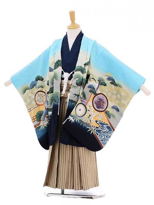 七五三レンタル(5歳男の子袴)5238水色松に丸紋かぶと