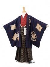 753レンタル(5歳男袴)05110モダンアンテナ紺×黄