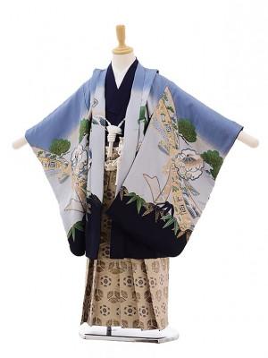 七五三(5男袴)5326 ブルーグレー地 兜(正絹)