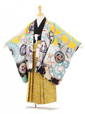 753レンタル(5歳男袴)5113 花うさぎ 黄色鷹