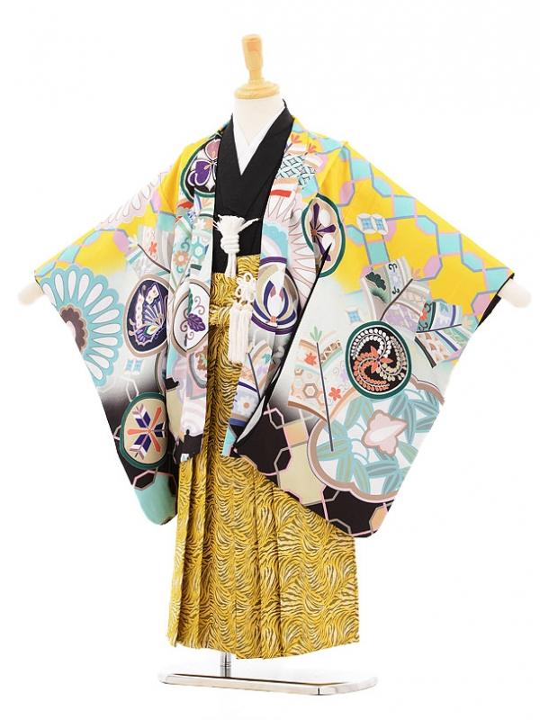 753レンタル(5歳男の子袴)5113花うさぎ黄色鷹