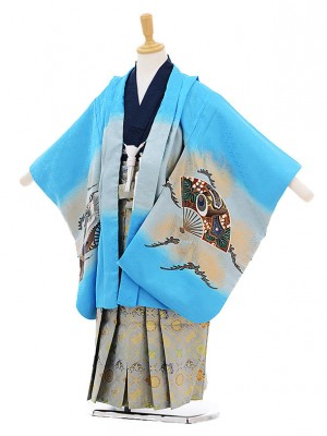 七五三レンタル(5歳男の子袴)5244水色扇に鷹