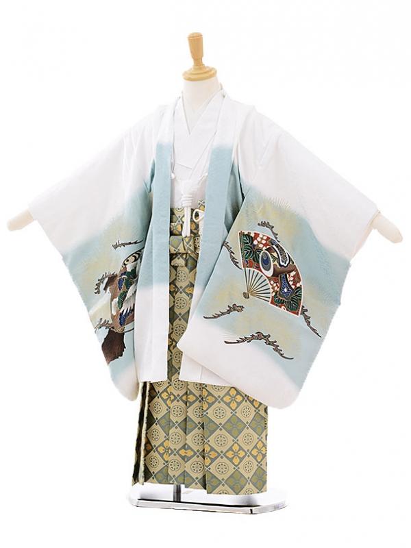 七五三レンタル(5歳男の子袴)5251白地扇に鷹