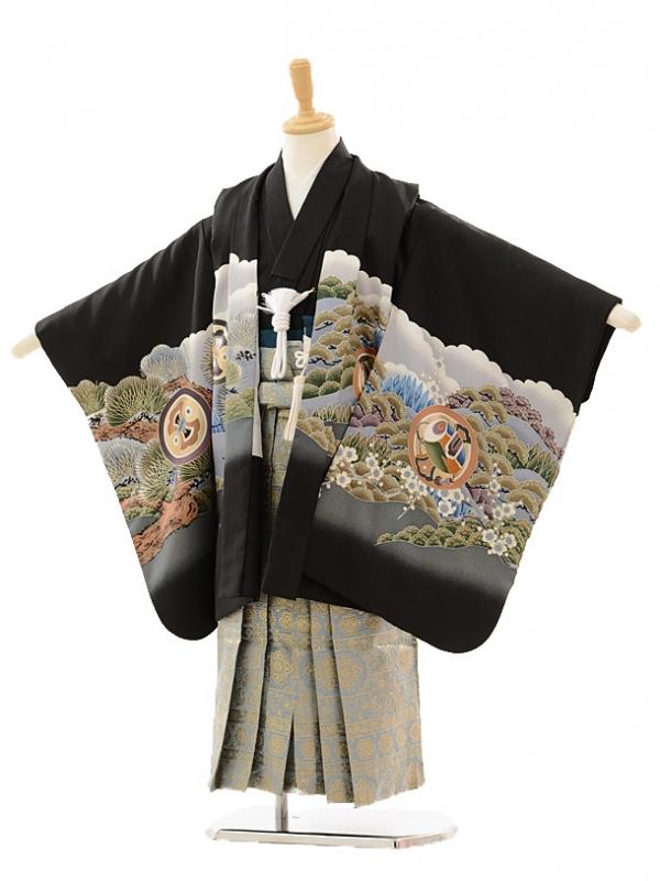 七五三レンタル(5歳男の子袴)5157黒富士に鷹×グレーゴール