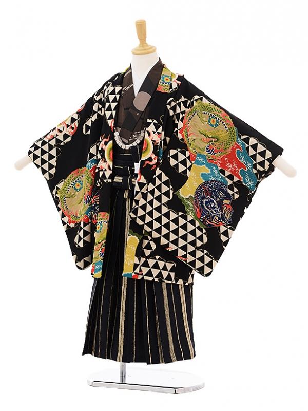 七五三レンタル(5歳男の子袴)5207モダンアンテナ雲龍と鱗黒