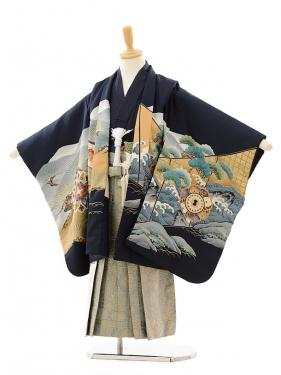 七五三(5歳男袴)5156 紺馬×グレーゴールド