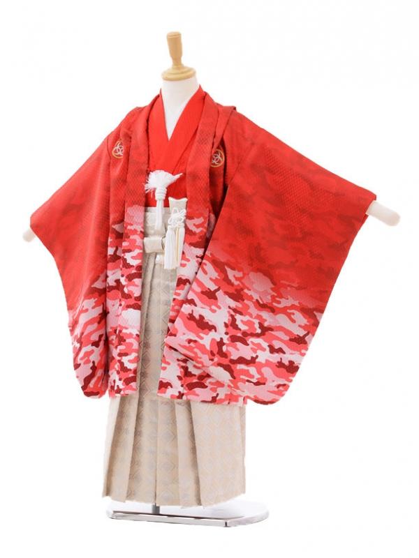 七五三レンタル(5歳男の子袴)5184カモフラ柄赤×クリーム色袴
