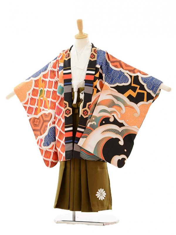 七五三レンタル(5歳男の子袴)5151雲波多色柄黒