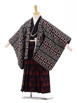 七五三レンタル(4歳男袴)5357 おりびと 黒地 赤変わり柄