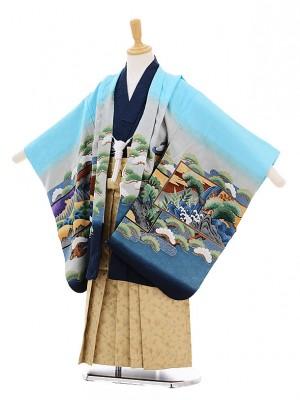 七五三レンタル(5歳男の子袴)5243水色松屏風に鷹
