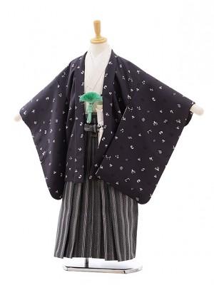 七五三(5.6歳男袴)5407ぷちぷり グレーおもちゃ箱×黒ストライプ
