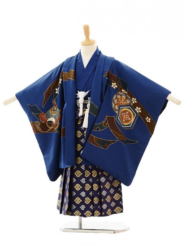 七五三レンタル(5歳男の子袴)5158紺かぶと×紺菱