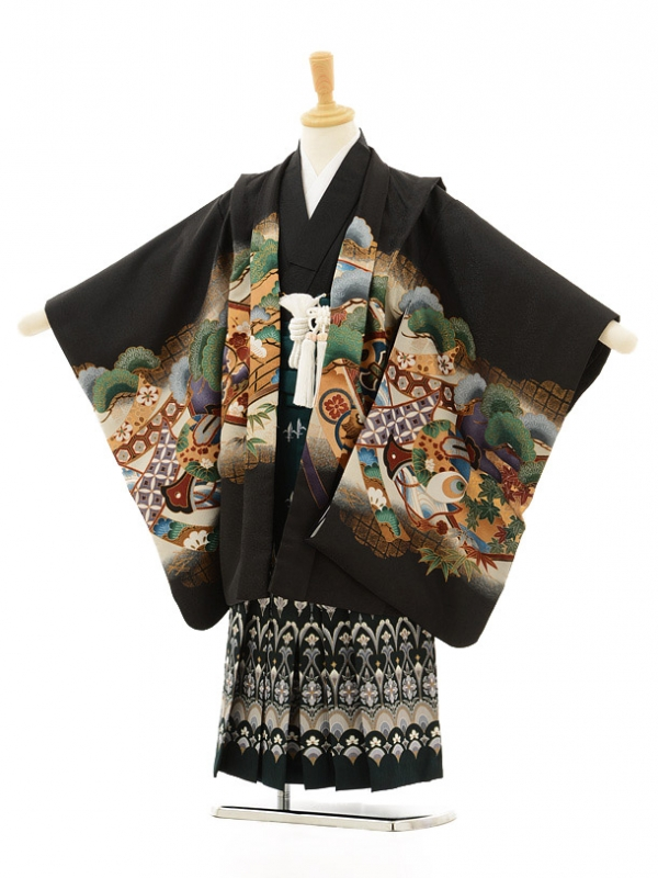 七五三レンタル(5男袴)5133黒鷹と熨斗