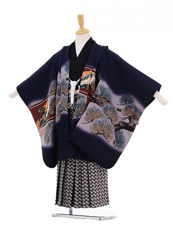 七五三レンタル(5歳男の子袴)5236紺地松に鷹