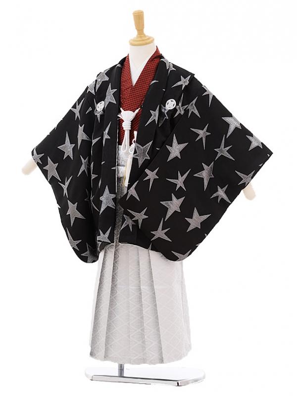 七五三レンタル(5歳男の子袴)5213黒シルバー星紋付