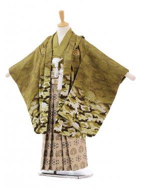 七五三(5歳男袴)5186 カモフラ柄グリーン×グレー袴