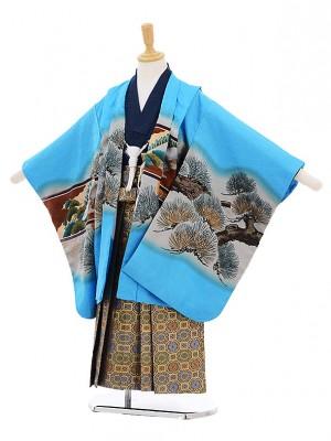 七五三レンタル(5歳男の子袴)5245水色松に鷹