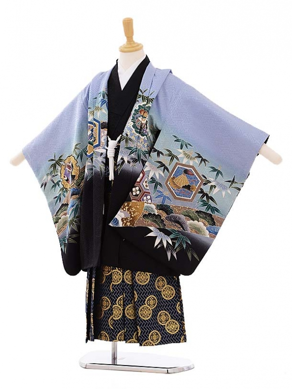 七五三レンタル(5歳男袴)5278 ブルーグレー鷹 (着物正絹)
