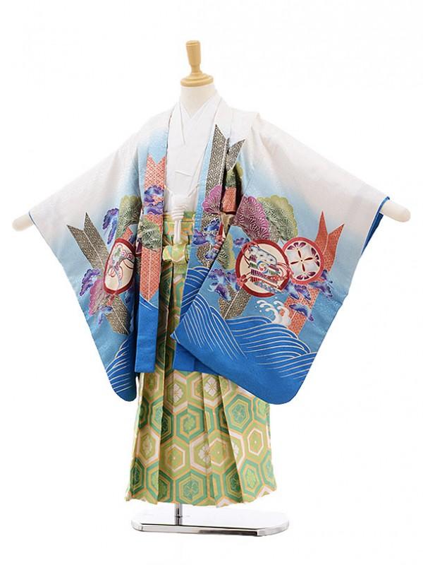 七五三レンタル(5歳男の子袴)5189白ブルーぼかし波に鷹