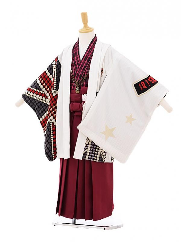 七五三レンタル(5歳男の子袴)5232 Rockkids白×赤