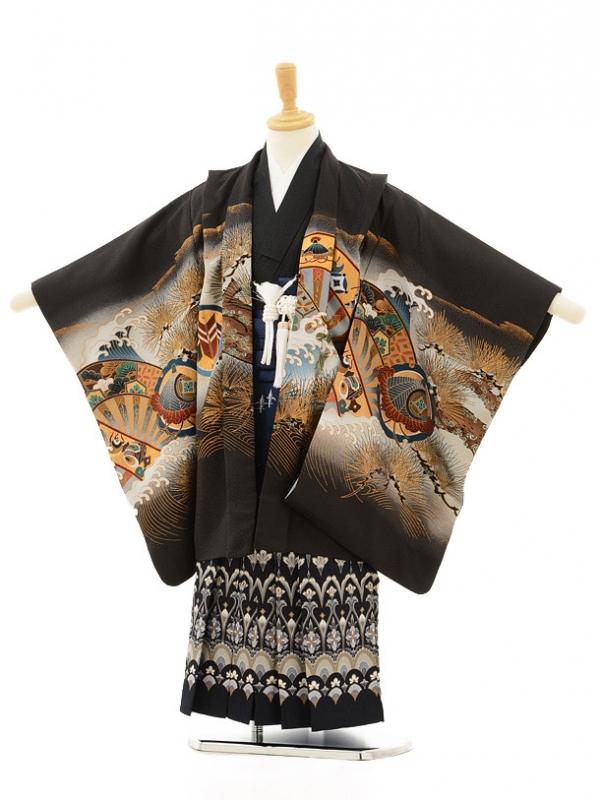 七五三レンタル(5男袴)5132黒かぶと松