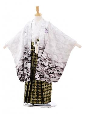 七五三(5歳男袴)5185 カモフラ柄白×黒ゴールド袴