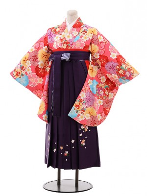 小学生卒業式袴レンタル(女の子) Z038ピンク地桜×パープル袴