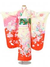 753七五三(7歳女)7841黄/赤色地 牡丹 桜
