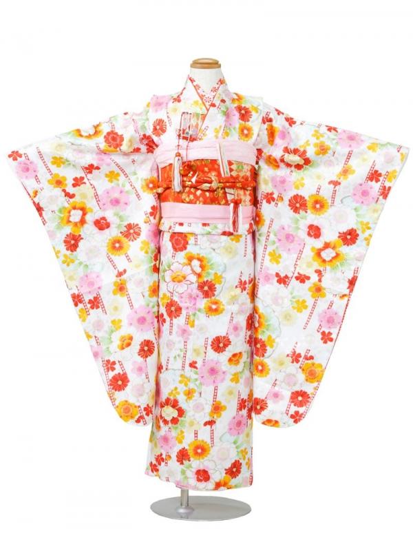 753七五三(7歳女)7815白地の立涌に桜の小紋