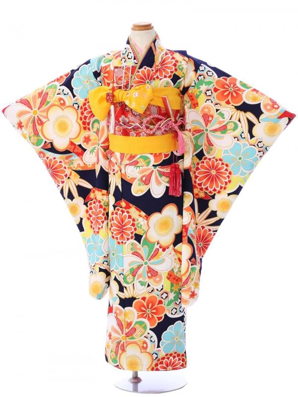 七五三(7歳女)7064式部浪漫 紺 桜