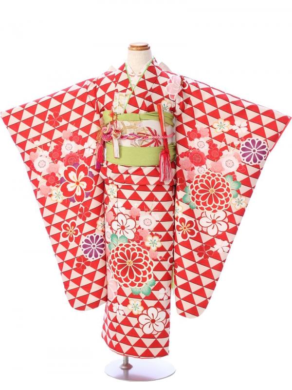 七五三(7歳女)7088赤×白 ウロコに菊梅桜