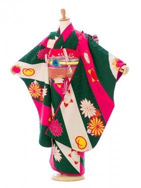 七五三(7歳女)7926 モダンアンテナ 緑×ピンク