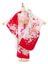 753七五三(7歳女)7855赤/白地 桜菊と鞠