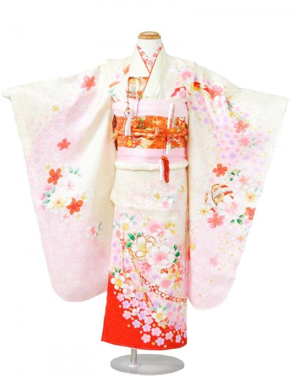 753七五三(7歳女)7831黄色/赤地 桜と毬文様