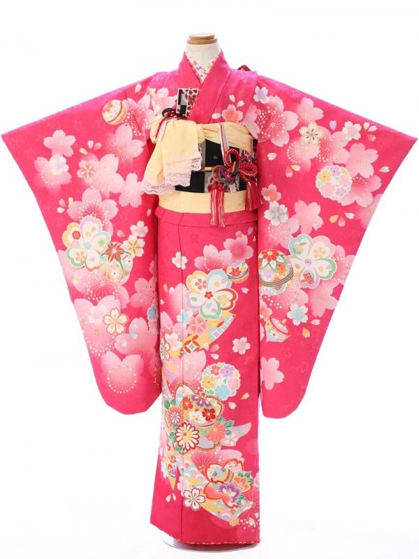 七五三(7歳女)7066花うさぎ ピンク 桜