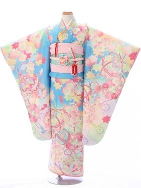 七五三(7歳女)7045水色 桜に鞠