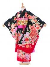 七五三7歳7909花うさぎ 黒桜赤ぼかし桜