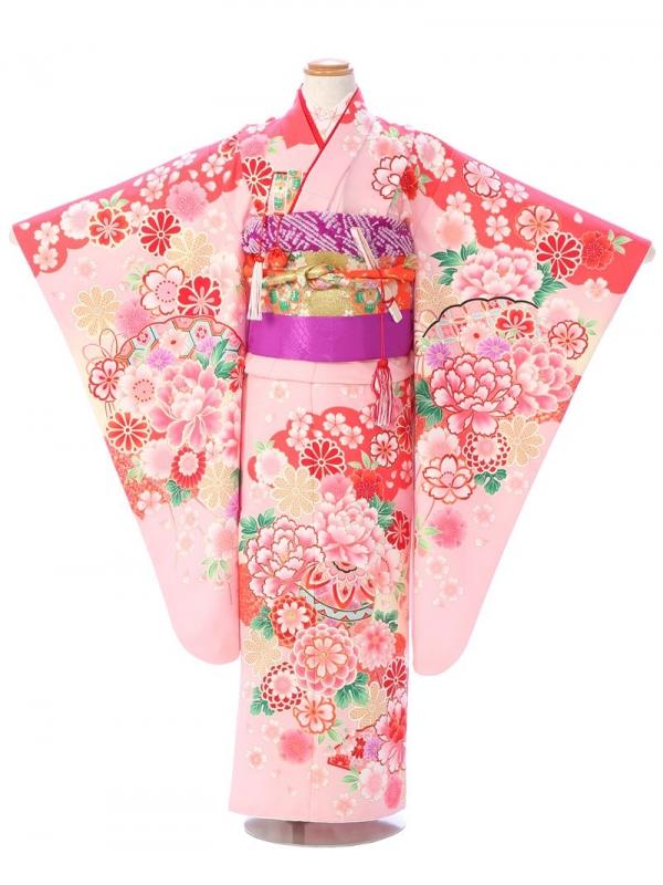 七五三(7歳女)7129 ピンク 牡丹 桜 古典柄