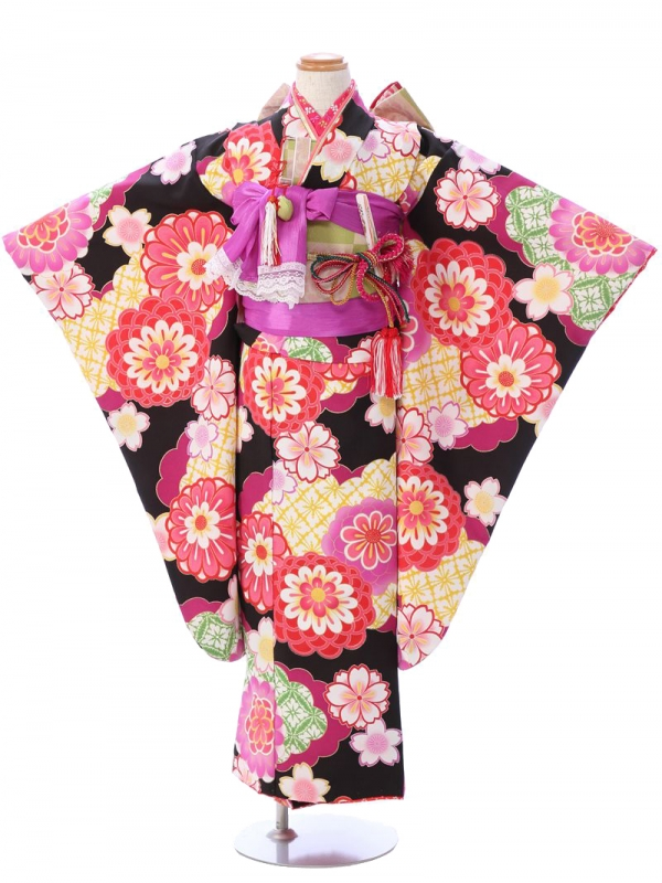 七五三(7歳女)7054黒地 雲取りに菊 桜