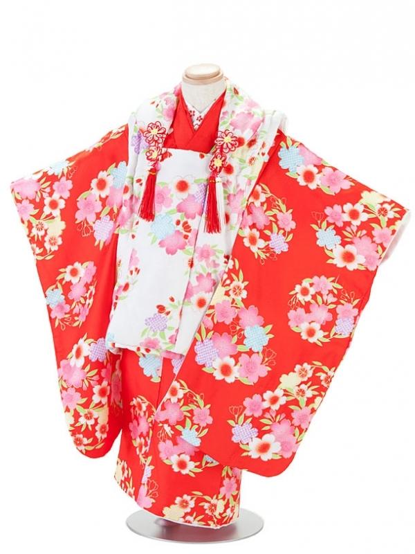 七五三(3女)T331赤×白・小花