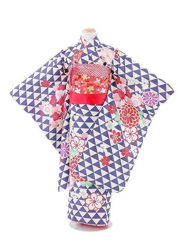 七五三(7女)T742紺・式部浪漫/梅菊桜はなびら