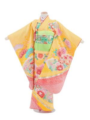 七五三(7女)T739黄色・花と松柄