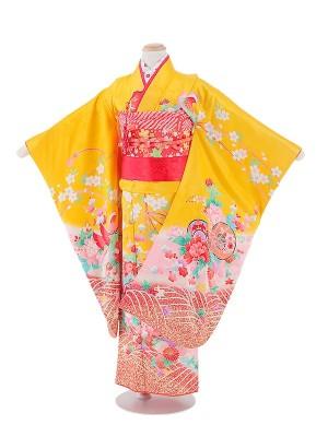 七五三(7女)T719 正絹 黄色・鼓と花