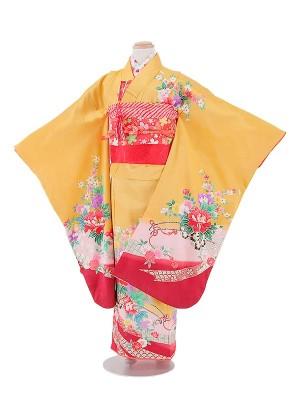 七五三(7女)T720 正絹 黄色・花車