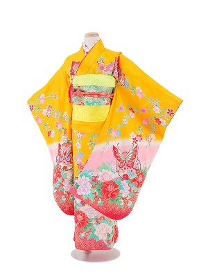 七五三(7女)T711 正絹 黄色・蝶と花